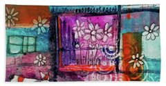 Beach Towel featuring the mixed media Thinking Happy Thoughts by Mimulux patricia No