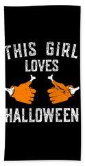 This Girl Loves Halloween Beach Towel