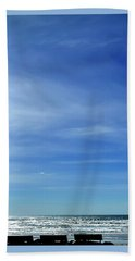 Beach Towel featuring the photograph Three Benches At The Coast by Jerry Sodorff