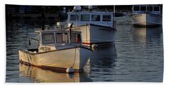 Three Boats In Maine Beach Towel
