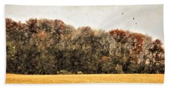 Three Crows And Golden Field Beach Towel