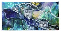 Beach Towel featuring the mixed media Three Houses On A Cliff by Mimulux patricia No