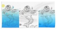 Three Mermaids All In A Row Beach Towel