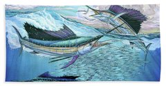 Three Sailfish And Bait Ball Beach Towel