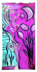 Beach Towel featuring the painting Three Tulips Under The Moon by Mimulux patricia No