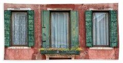 Three Windows With Green Shutters Of Venice Beach Towel