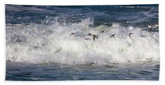 Beach Towel featuring the photograph Through The Waves by Lora J Wilson