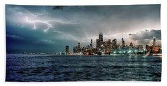Thunder And Lightning In The Dark City II Beach Towel