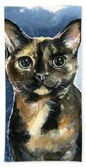 Tiffany Tortoiseshell Cat Painting Beach Sheet