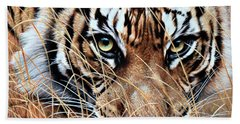 Beach Towel featuring the painting Tiger Eyes By Alan M Hunt by Alan M Hunt
