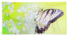 Tiger Swallowtail Butterfly On Privet Flowers Beach Towel