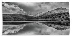 Topaz Lake Winter Reflection, Black And White Beach Towel