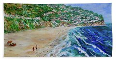 Beach Towel featuring the painting Torrance Beach, Palos Verdes Peninsula by Tom Roderick