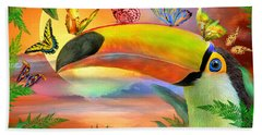 Beach Towel featuring the mixed media Toucan And Butterflies by Carol Cavalaris