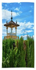 Beach Towel featuring the photograph Towers And Blue Sky From Montjuic In Barcelona by Eduardo Jose Accorinti