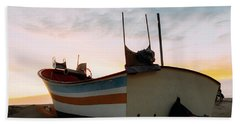 Traditional Wooden Fishing Boat Beach Towel