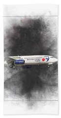 Travel Service Boeing 737-8cx Painting Beach Towel