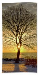 Beach Towel featuring the photograph Tree Framed Sunrise New Hampshire by Nathan Bush