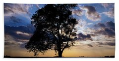 Tree Silhouette Beach Towel