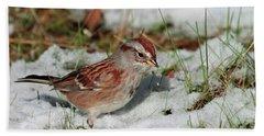 Tree Sparrow In Snow Beach Towel