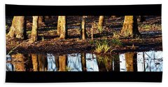 Beach Towel featuring the photograph Trees Reflected At Sunrise by Jerry Sodorff