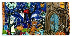 Trick Or Treat Halloween Cats Beach Sheet