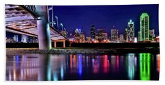 Trinity River Night View Of Dallas Beach Towel