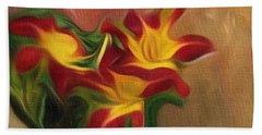 Trio Of Day Lilies Beach Towel