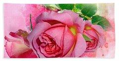 Trio Of Pink Roses Beach Sheet
