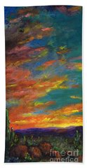 Triptych 1 Desert Sunset Beach Towel