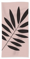 Tropical Blush Pink Leaf I Beach Towel