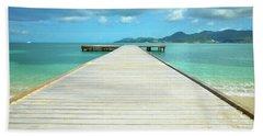Tropical Caribbean Dock - St. Maarten Beach Towel