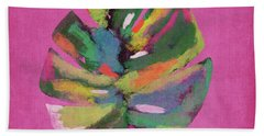 Tropical Palm Leaf Pink- Art By Linda Woods Beach Towel