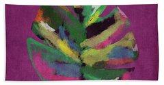 Tropical Palm Leaf Purple- Art By Linda Woods Beach Towel