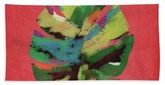 Tropical Palm Leaf Red- Art By Linda Woods Beach Towel