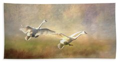 Beach Towel featuring the photograph Trumpeter Swan Landing - Painterly by Patti Deters