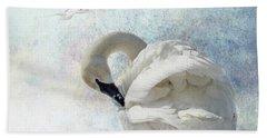 Trumpeter Textures #2 - Swan Preening Beach Towel