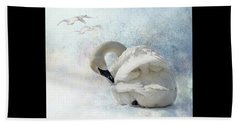 Beach Towel featuring the photograph Trumpeter Textures #2 - Swan Preening by Patti Deters