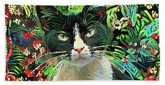 Tucker The Tuxedo Cat Beach Sheet