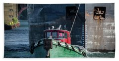 Tug Massachusetts And Canadian Ship Algosteel Beach Towel
