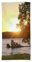 Tugboat On Mississippi River Beach Towel