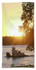 Tugboat On Mississippi River Beach Towel