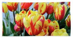 Tulips And Tiger Stripes Beach Towel