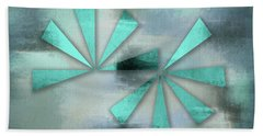 Turquoise Triangles On Blue Grey Backdrop Beach Towel