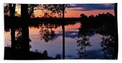 Twilight By The Lake Beach Towel