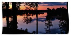 Twilight By The Lake Beach Towel