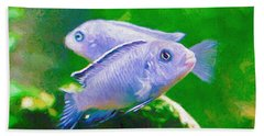 Beach Towel featuring the digital art Twin Blue Zebra Cichlids Pen by Don Northup