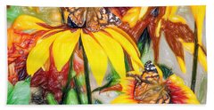 Twin Painted Lady Butterflies Pencil Beach Towel