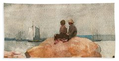 Two Boys Watching Schooners - Digital Remastered Edition Beach Towel