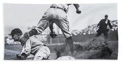 Ty Cobb Steals 3rd Base 1910 Beach Towel